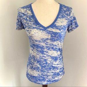 Soffe Blue and Gray Camo Tie Dye Print V-neck Tee